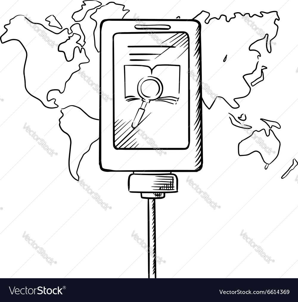 Sketch of tablet with search icon on a display vector