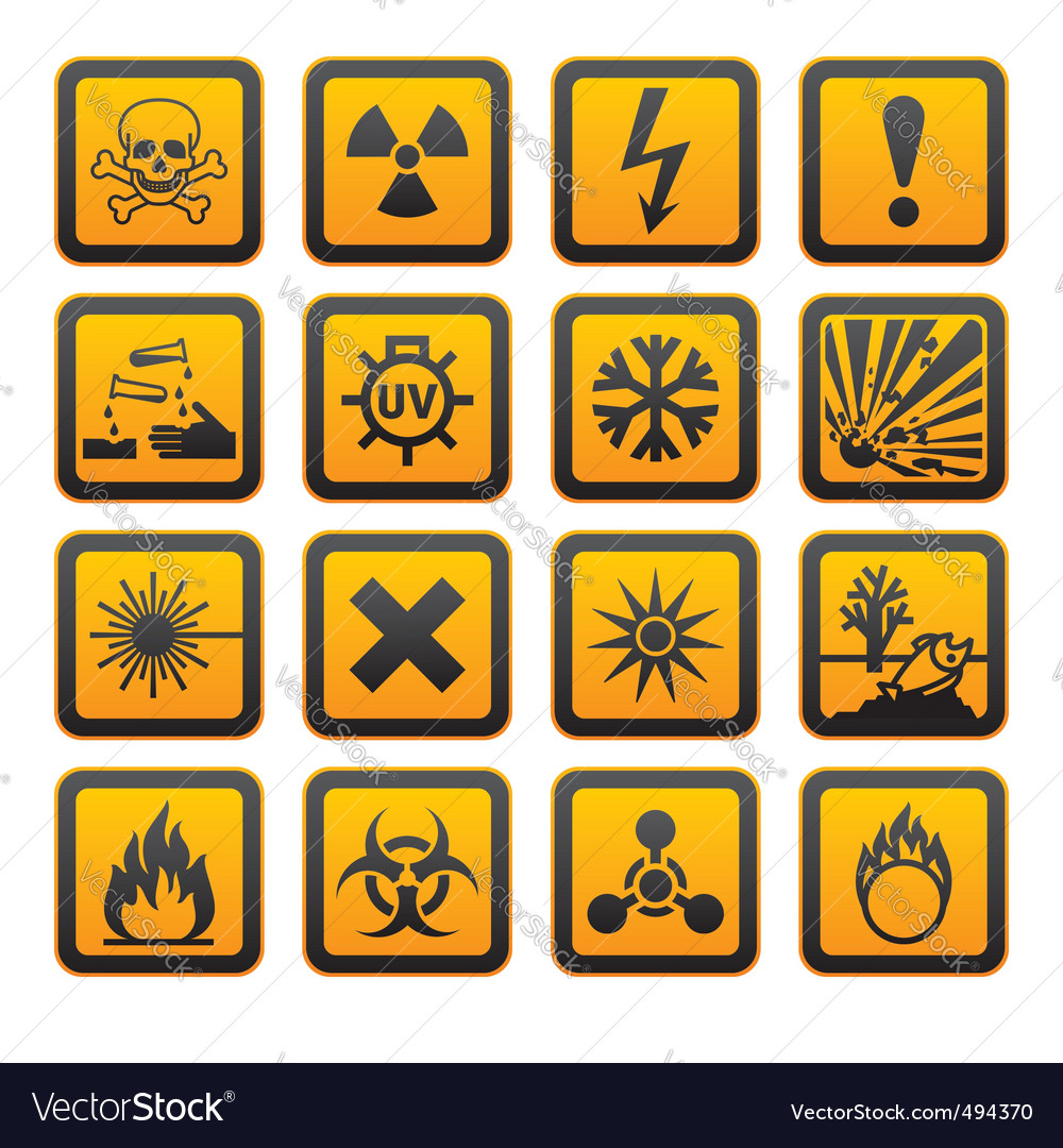 Hazard symbols orange s sign vector
