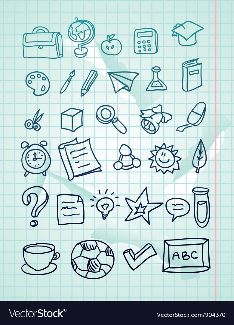Icon set  hand drawn school doodles vector