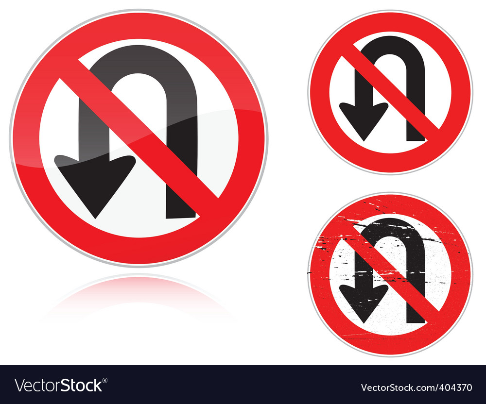 Uturn forbidden road sign vector