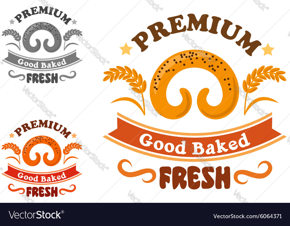 Bakery or pastry shop sign with sweet bun vector