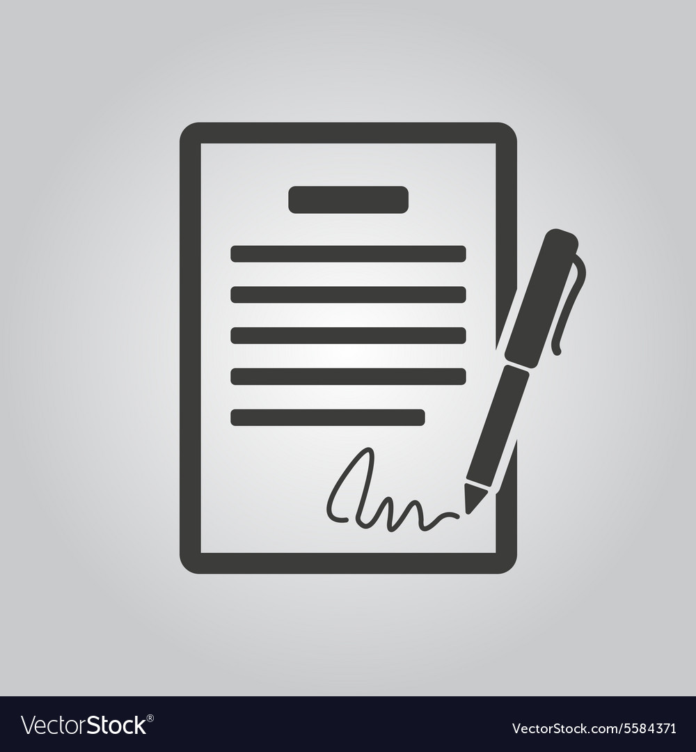 Contract icon agreement and signature pact vector