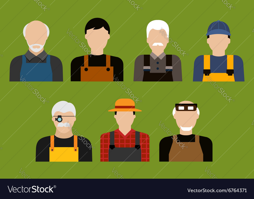 Farmer mechanic jeweler and tailor profession vector