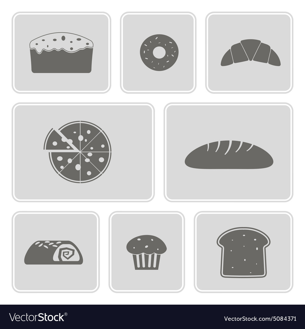 Monochrome icons with baking vector