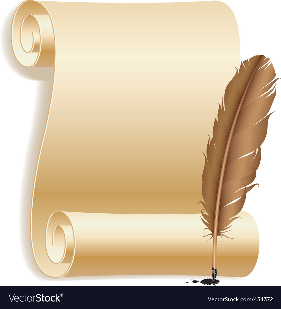 Paper and feather vector