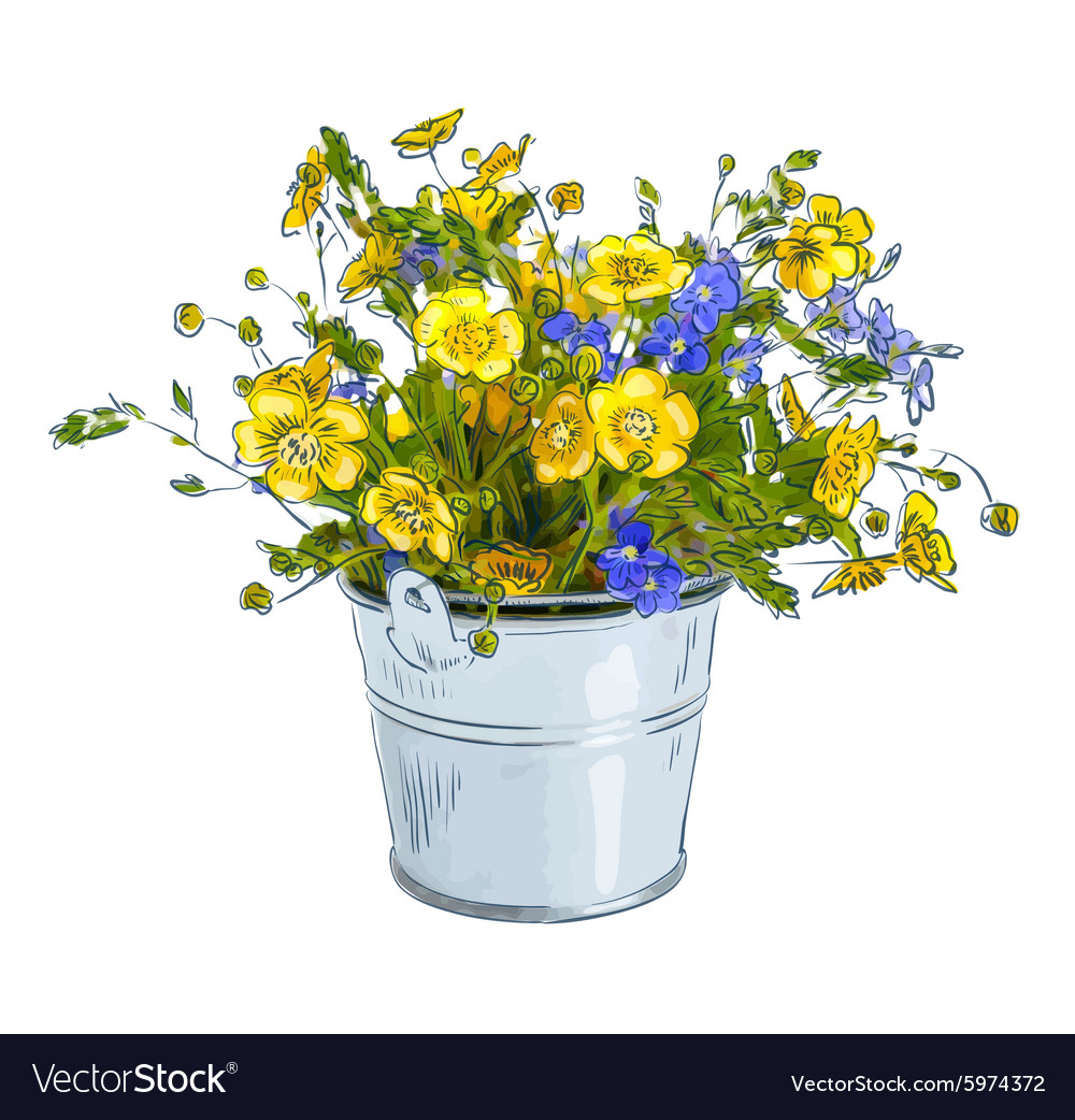Small bouquet with meadow flowers vector