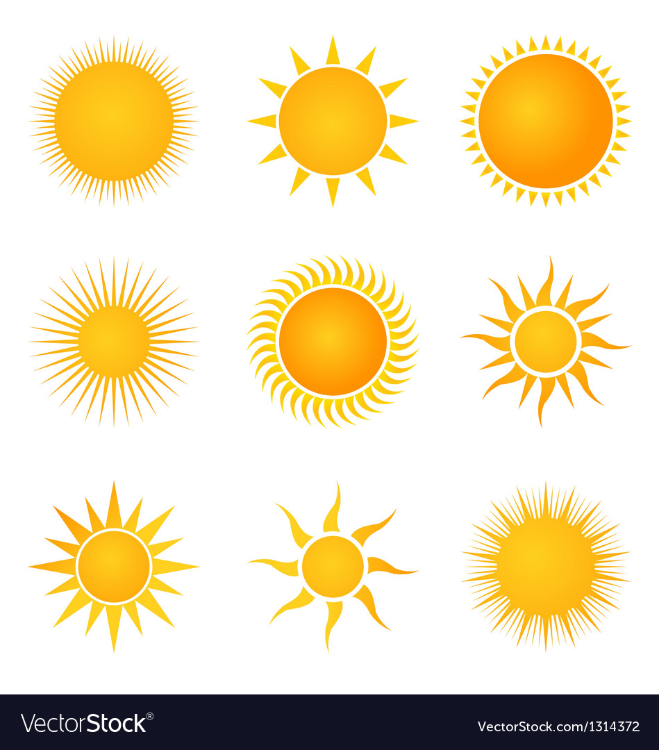 Sun set icons vector