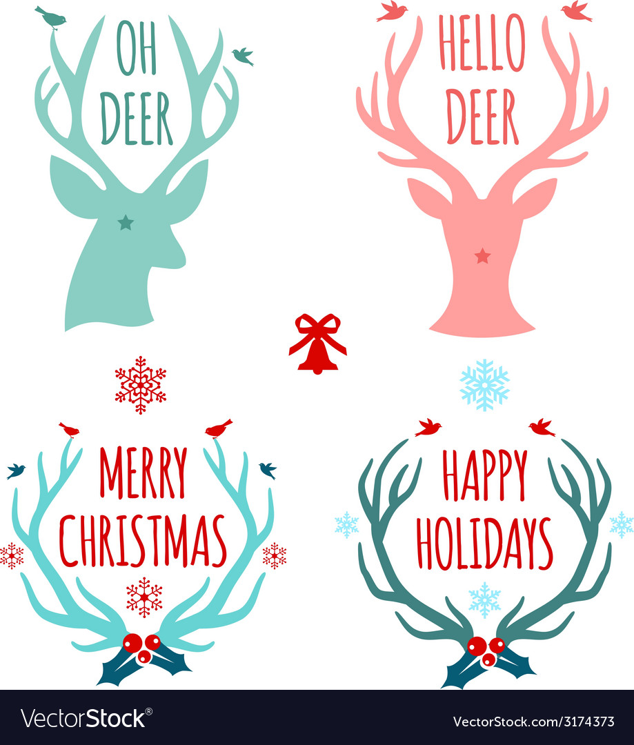 Merry christmas with deer heads and antlers vector