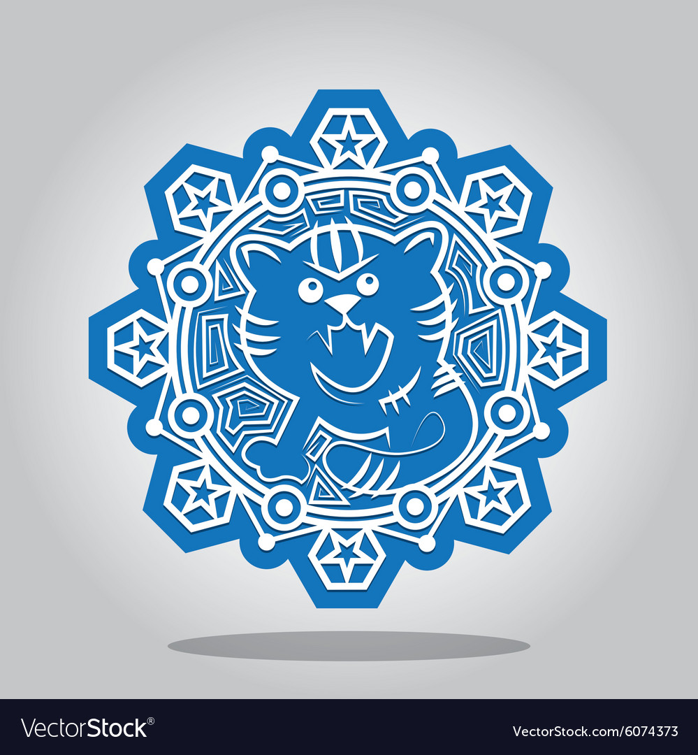 Snowflake of the tiger on the chinese zodiac vector