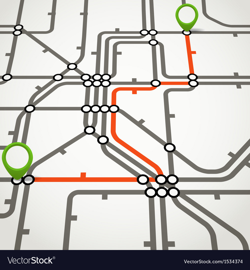 Abstract metro scheme with the selected path vector