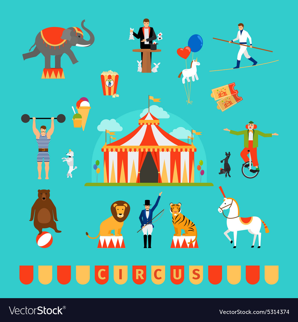 Circus and fun fair elements vector