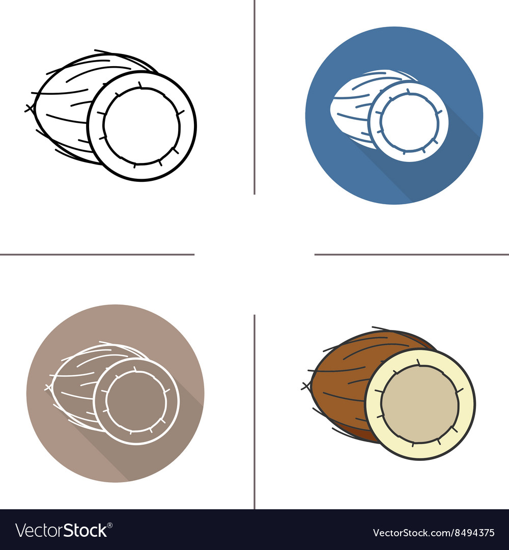 Coconut flat design linear and color icons set vector