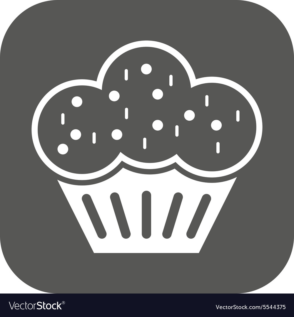 Muffin icon dessert and baked cake bakery vector
