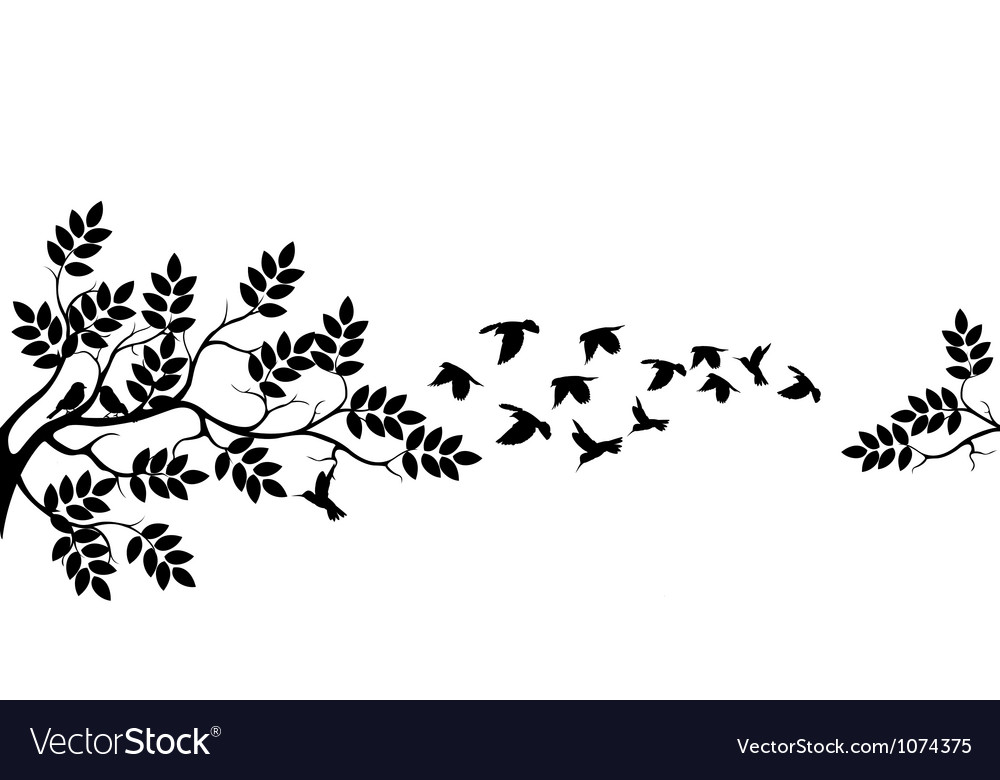 Tree silhouette with birds flying vector