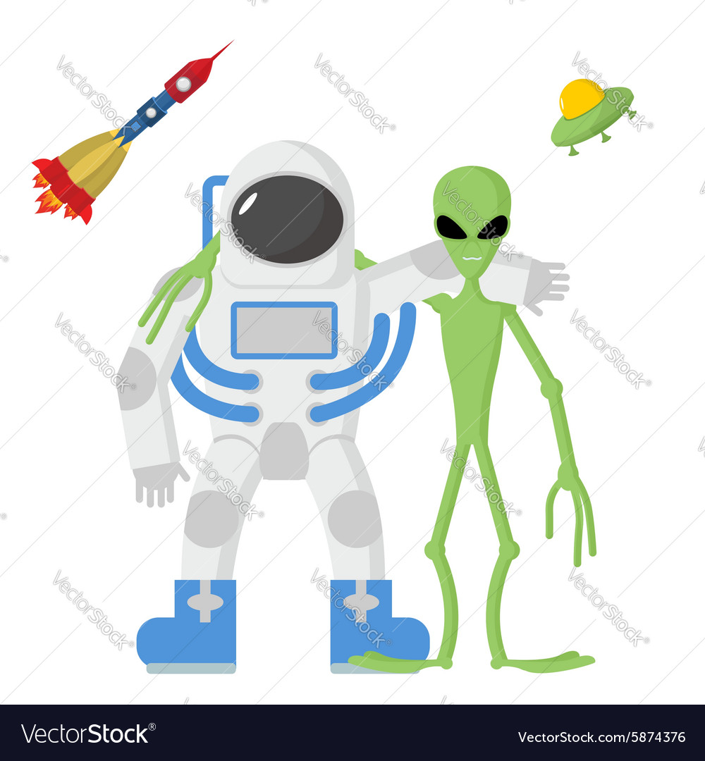 Astronaut and alien friends on a white background vector