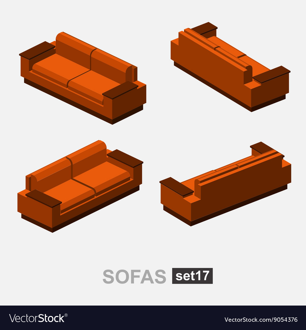Set of the isolated sofa vector