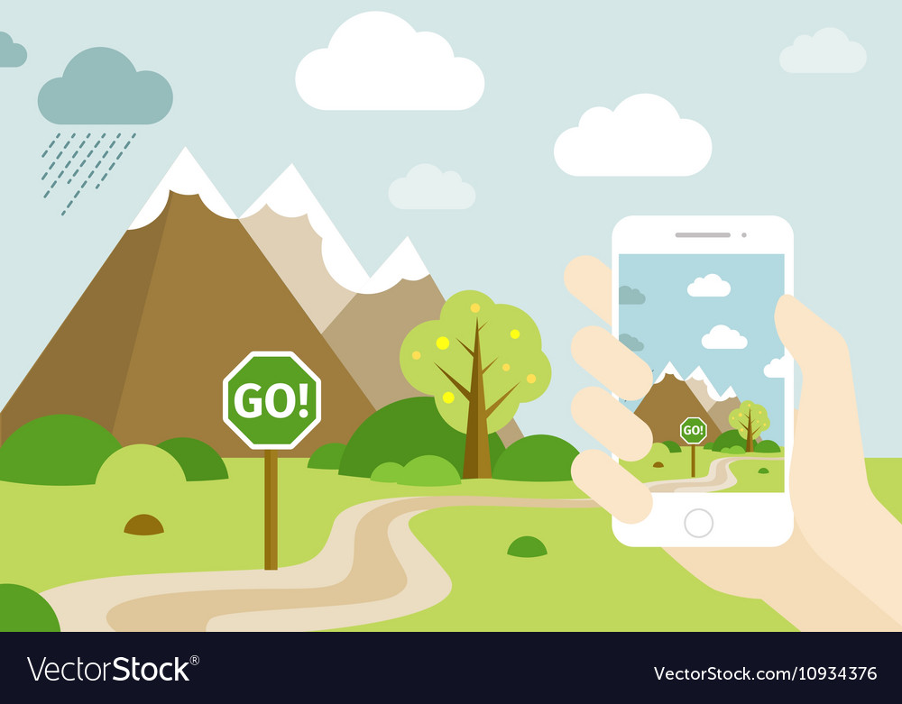 Smartphone go location game vector