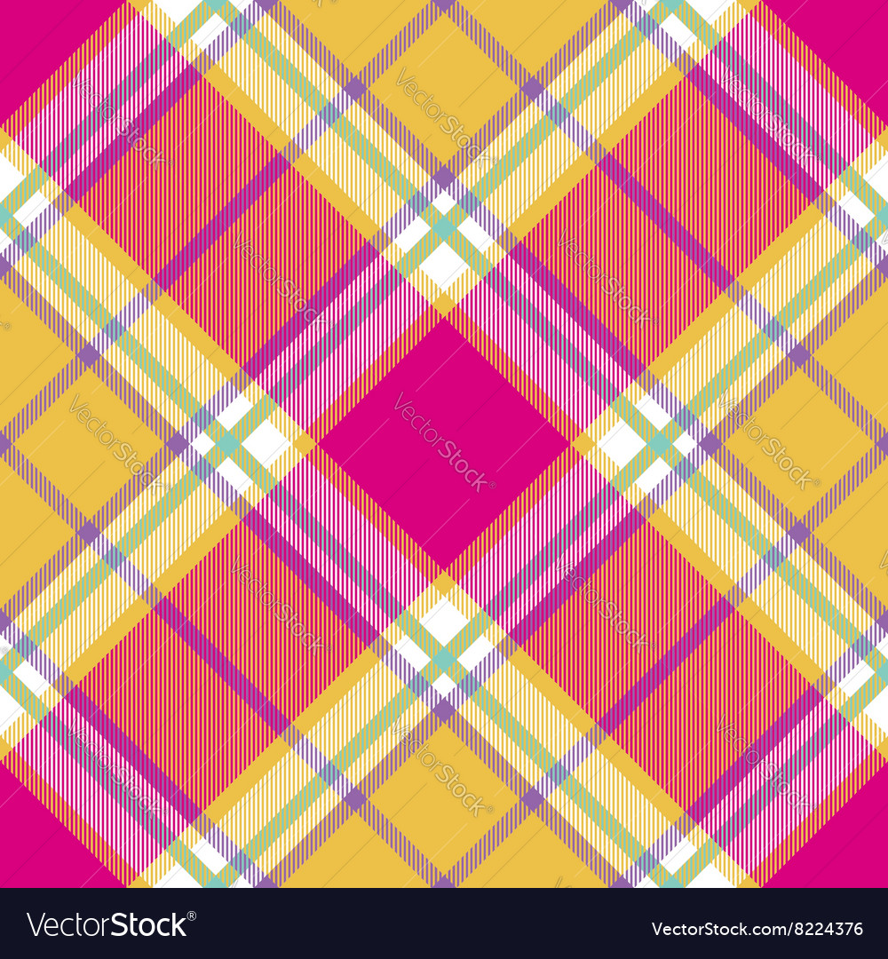Yellow pink indian madras diagonal fabric texture vector