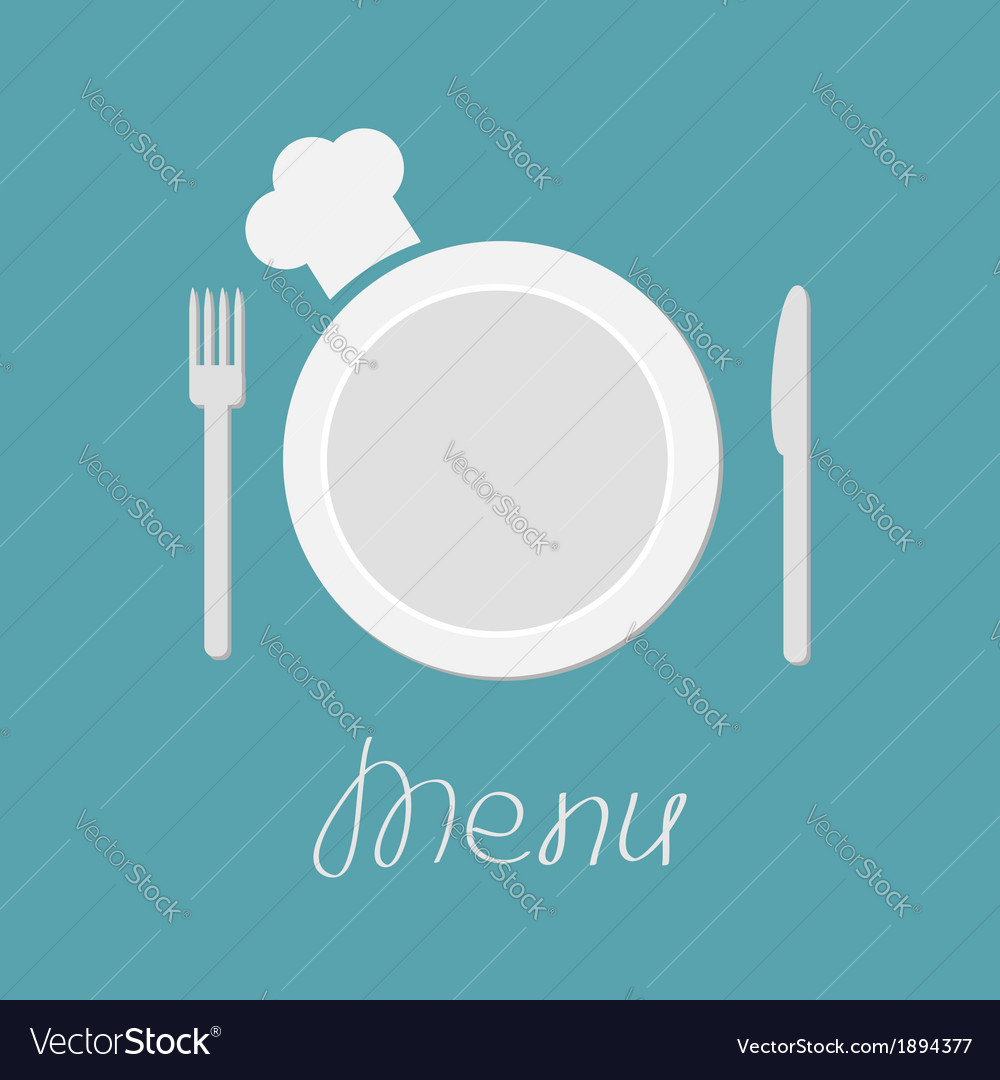 Fork plate knife and chefs hat menu card flat vector