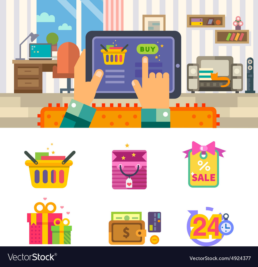 Shopping in internet vector