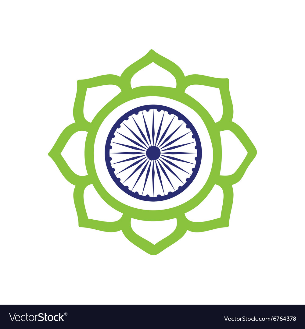 Modern flat icon white background flag lotus vector