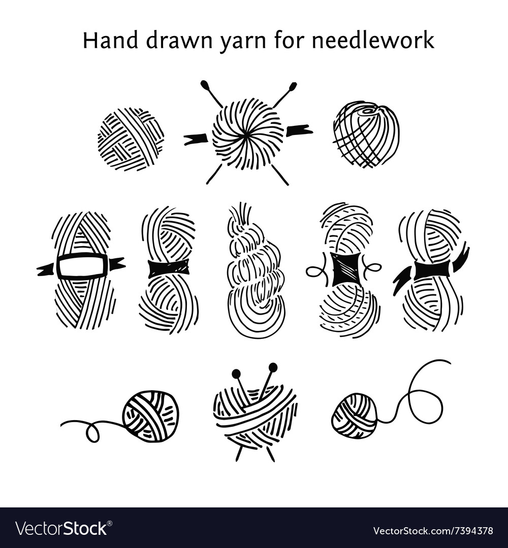 Set skeins of different forms handdrawn vector