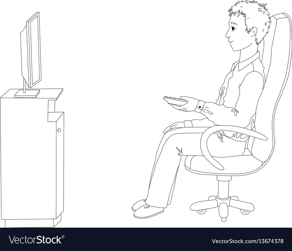 Young man sitting in a chair and watching tv vector