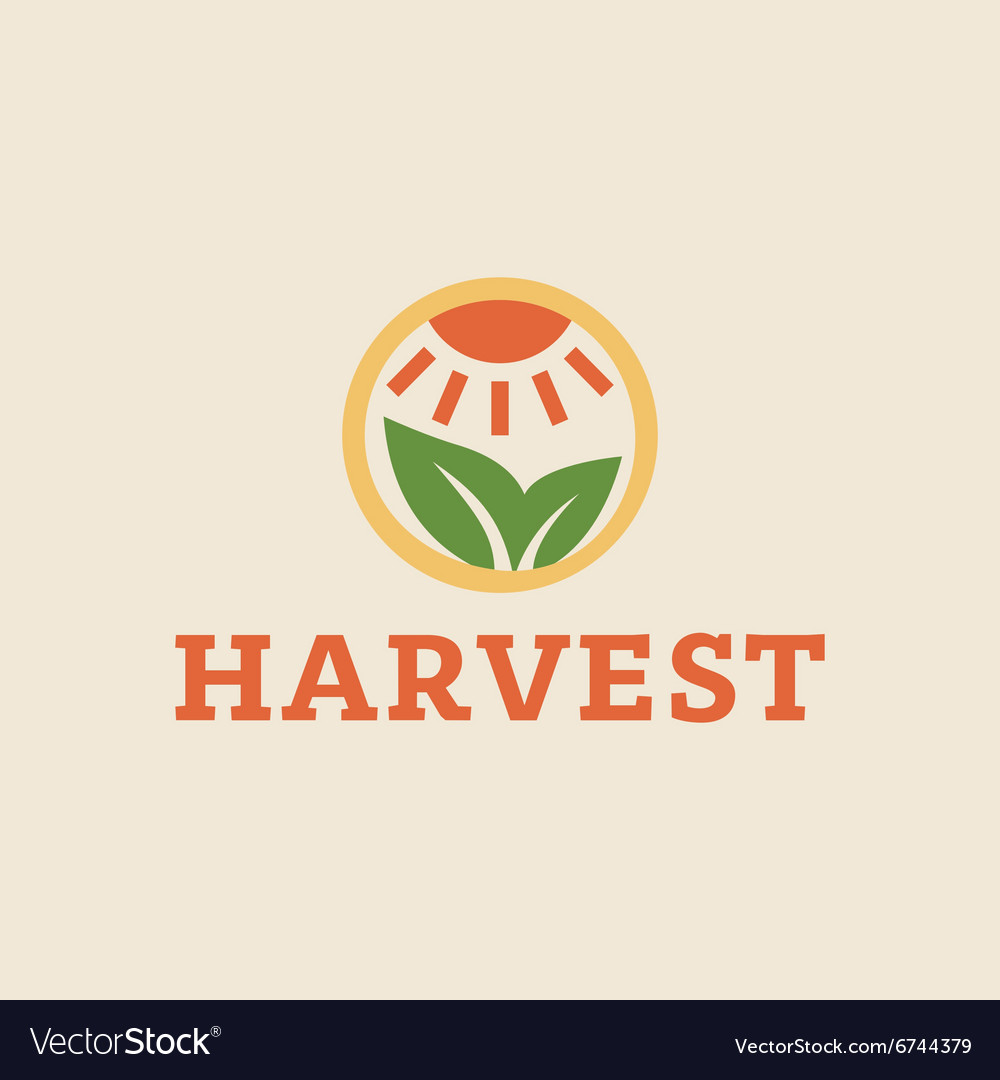 Logo horticulture crop plant soil style flat trend vector