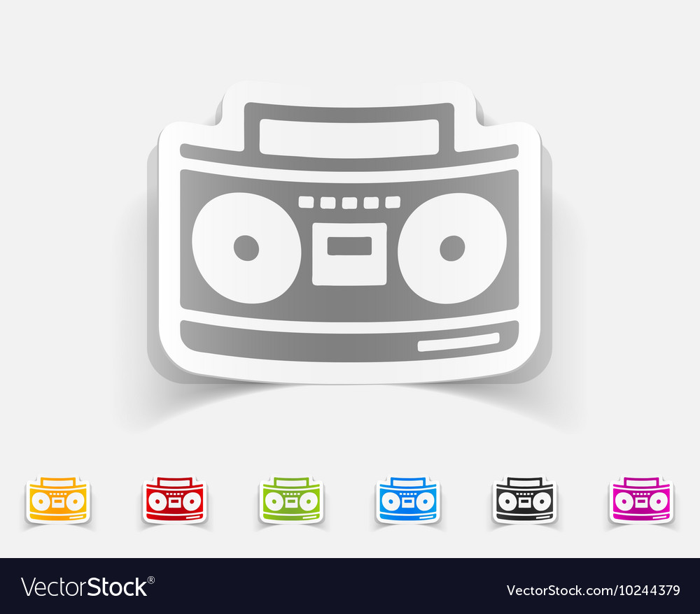 Realistic design element cassette recorder vector
