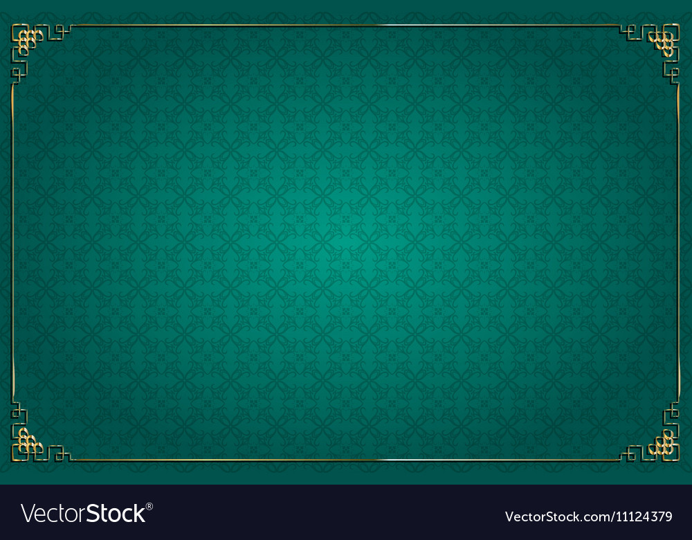 Turquoise chinese background and gold decoration vector