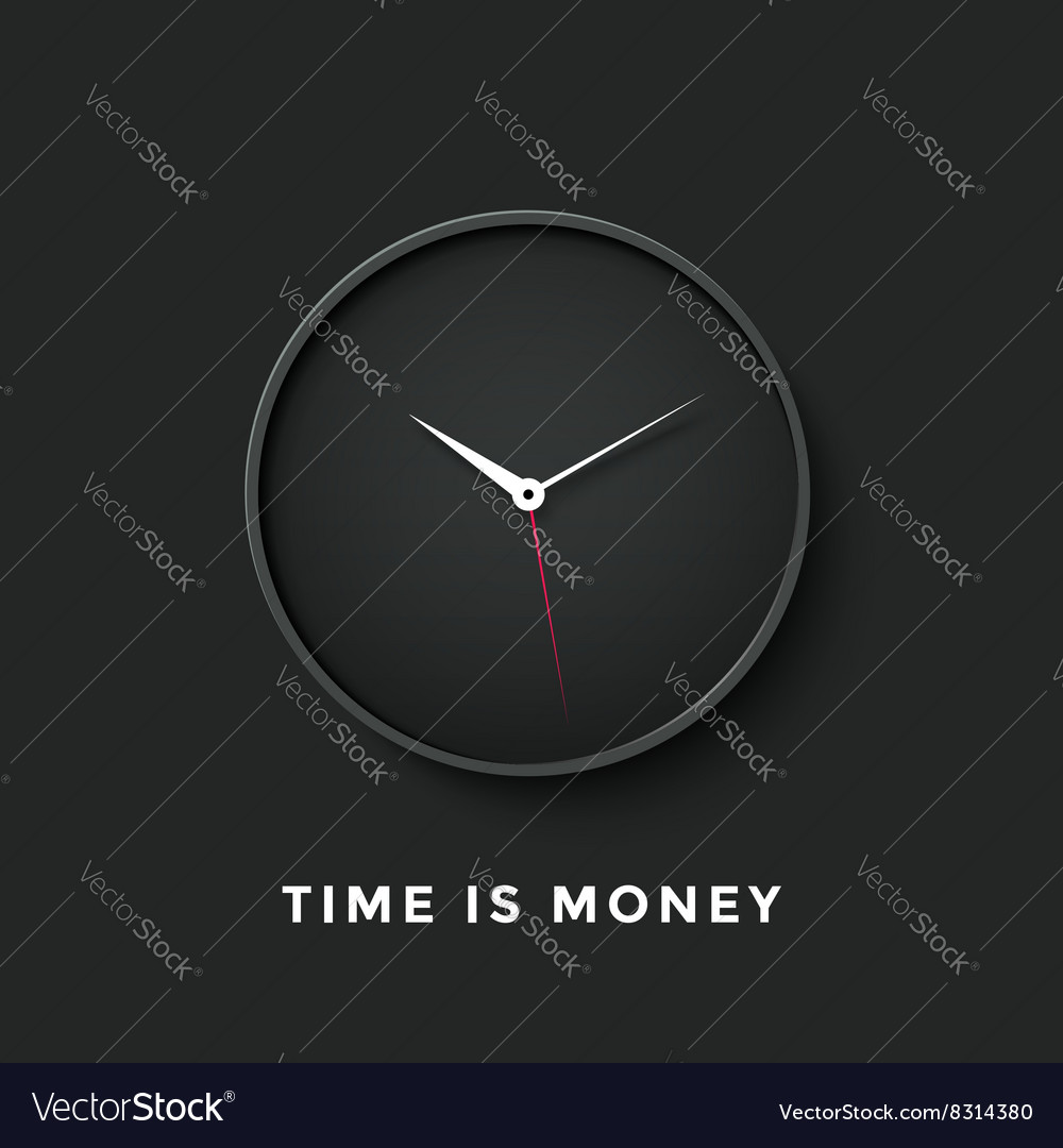 Icon of black clock face with shadow and message vector