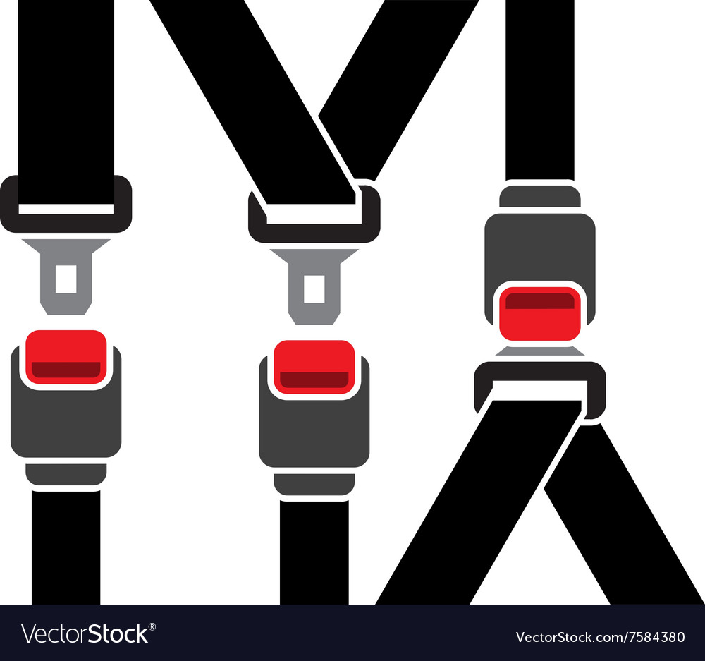 Safety seatbelt icon vector