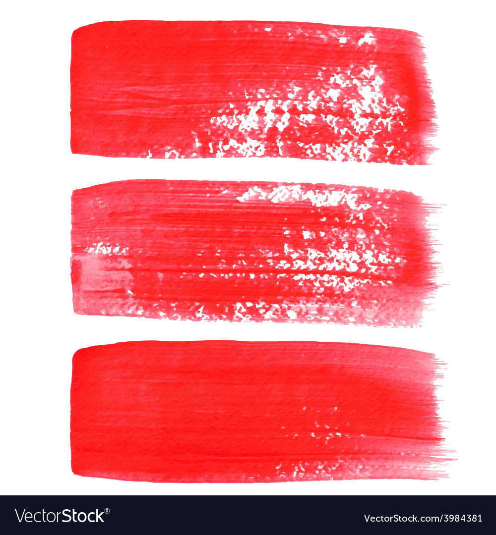 Red ink brush strokes vector