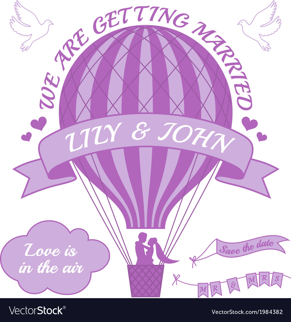 Ballohot air balloon wedding invitation vector