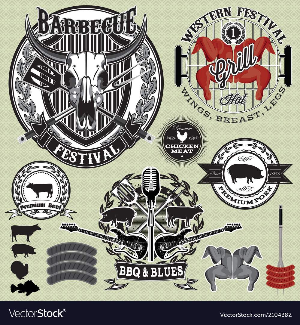 Set of design elements on a barbecue grill vector
