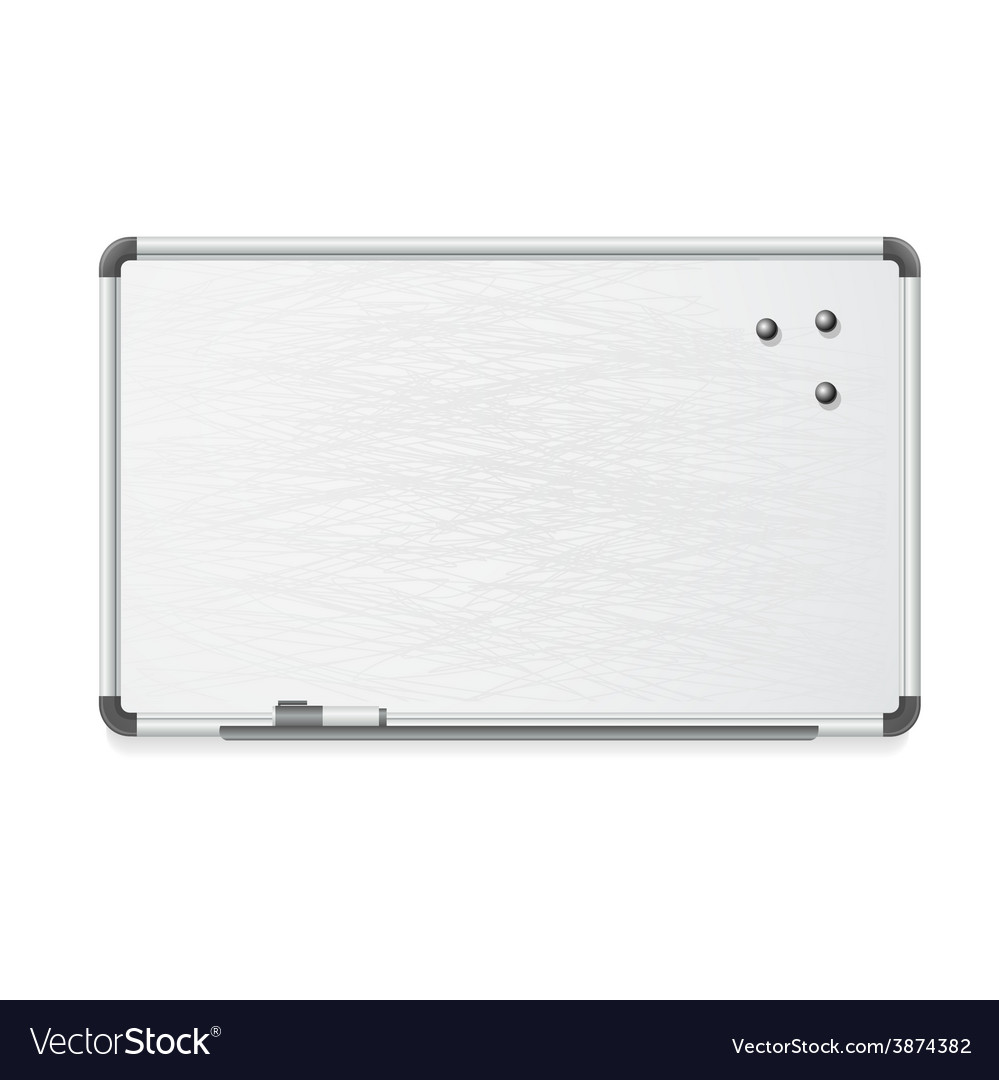 Whiteboard with marker and magnets vector