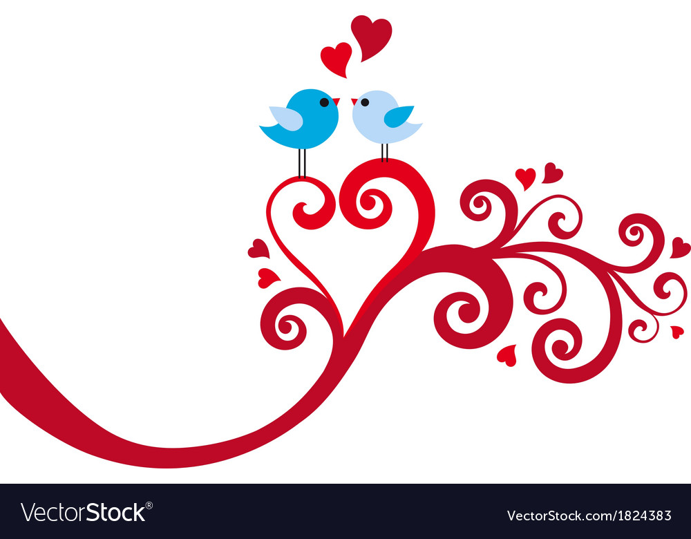 Love birds with heart swirl vector