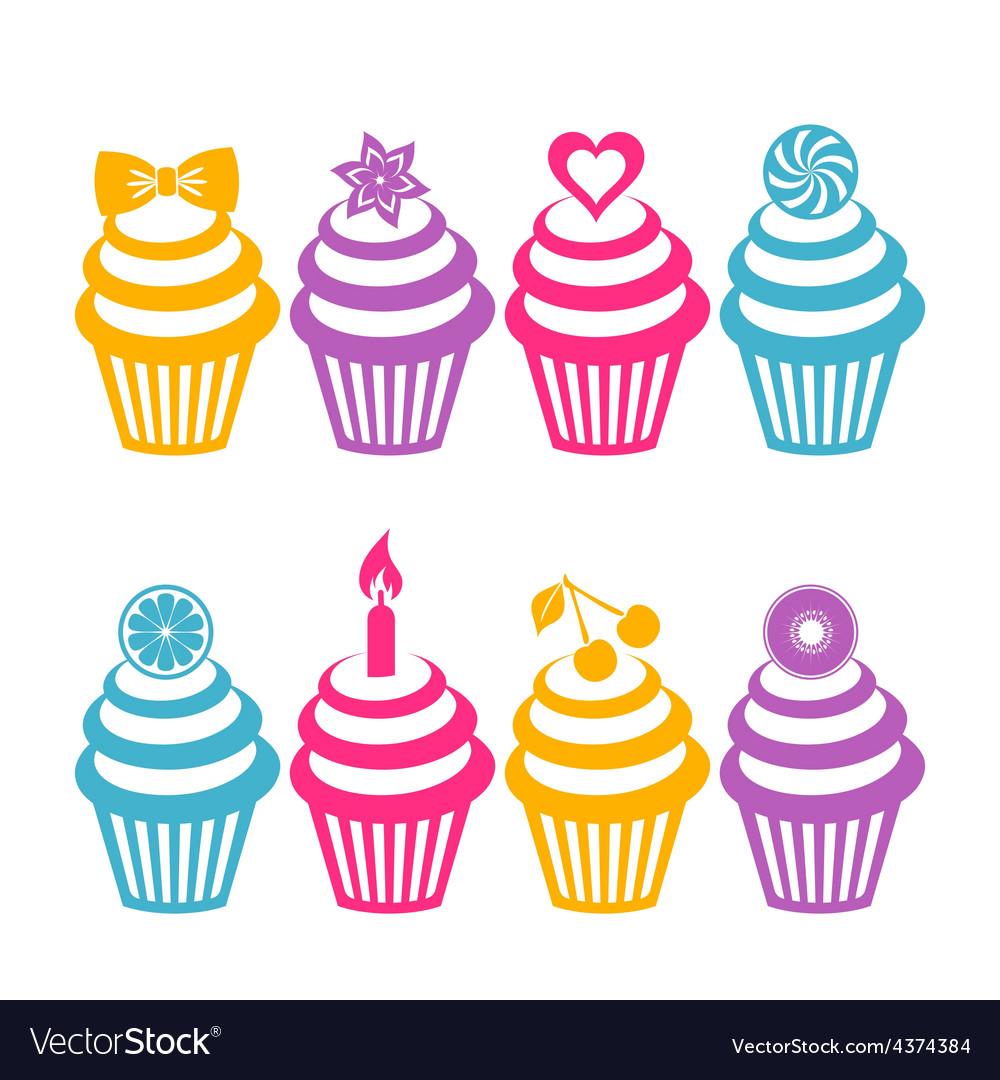 Colorful cupcake silhouettes vector