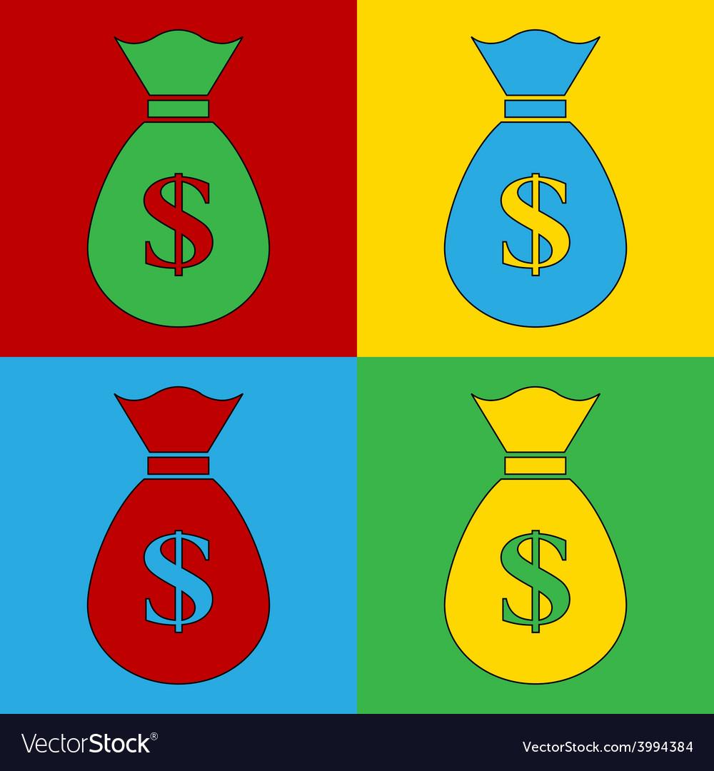 Pop art money icons vector