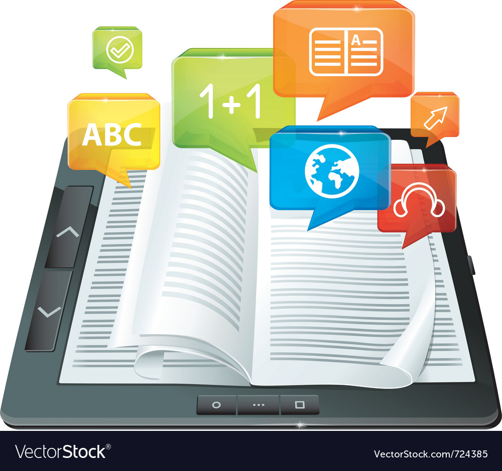 Elearning concept  electronic book  vector