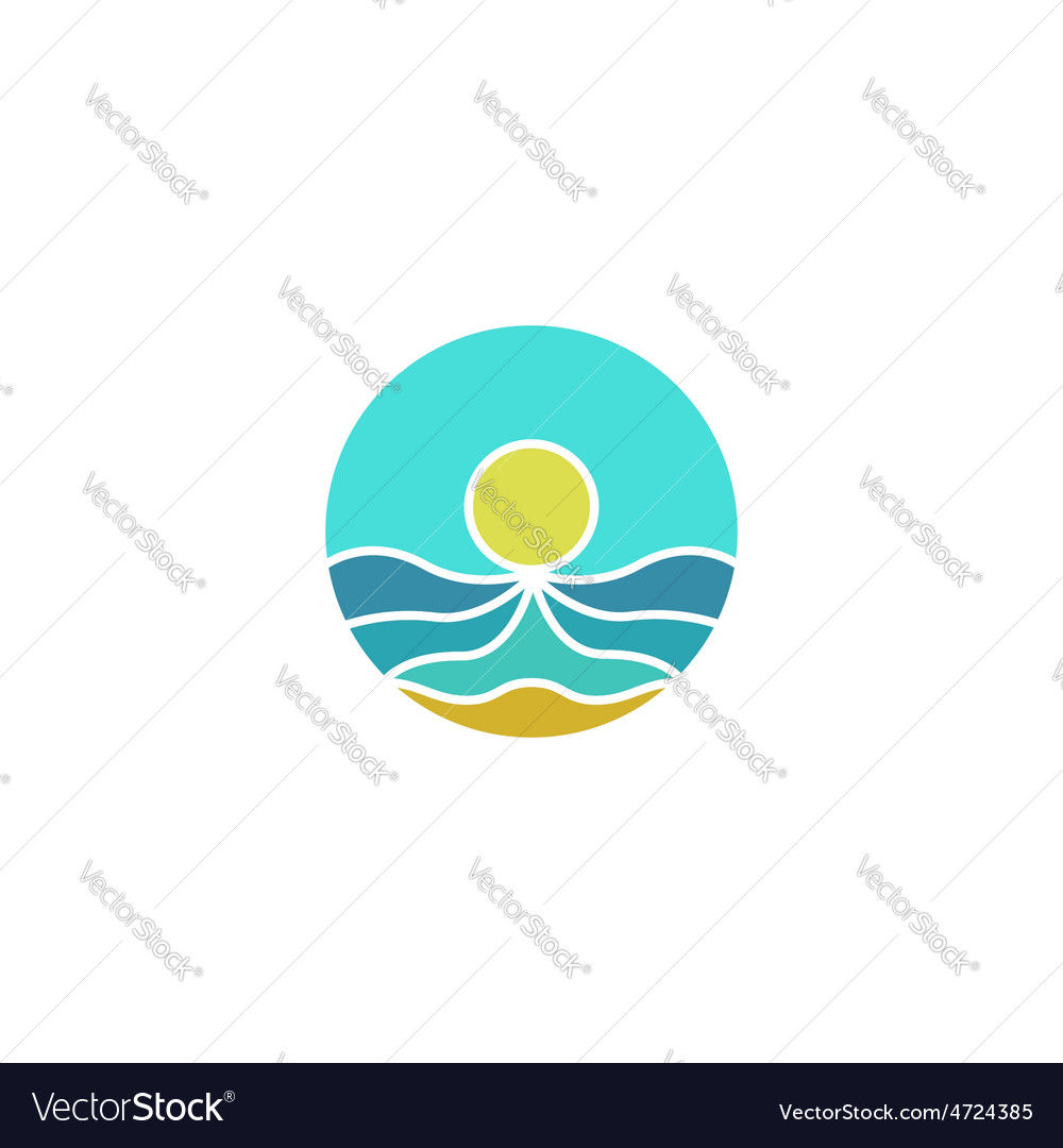 Tourism mockup logo sun sea sand abstract icon vector