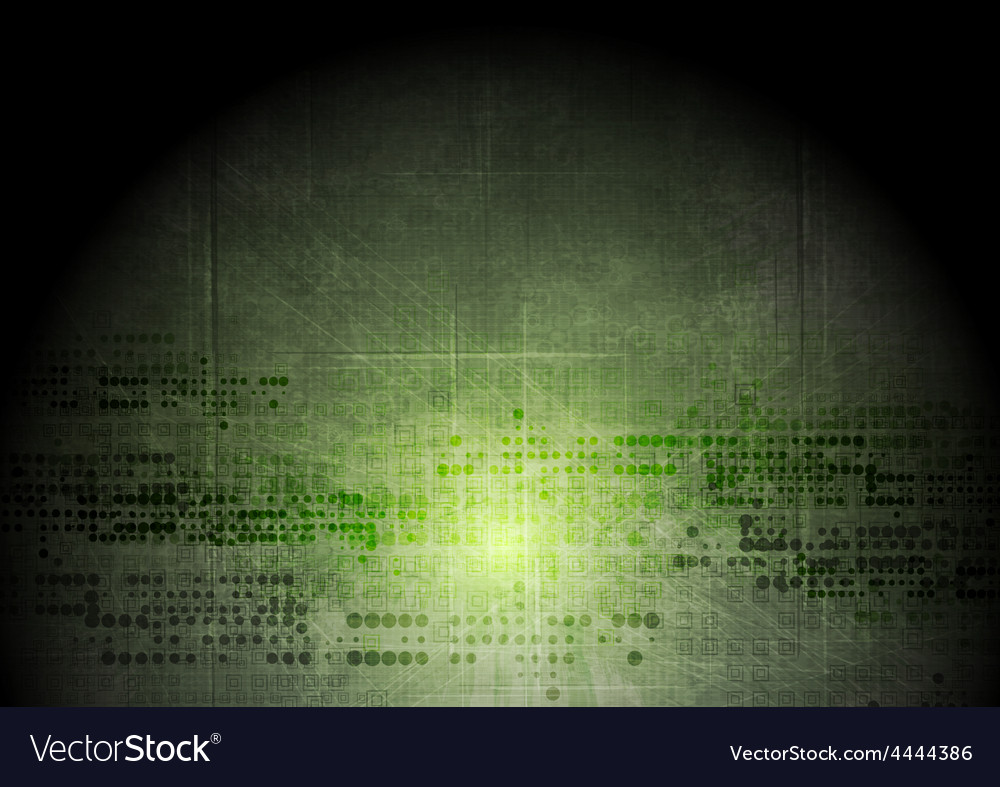 Dark green grunge tech background with geometric vector