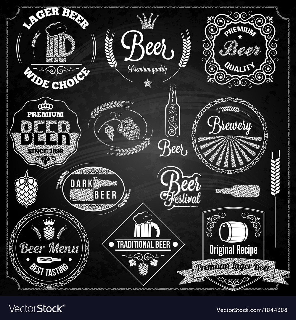Beer set elements chalkboard vector