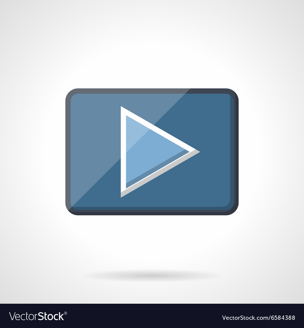 Blue play button flat icon vector