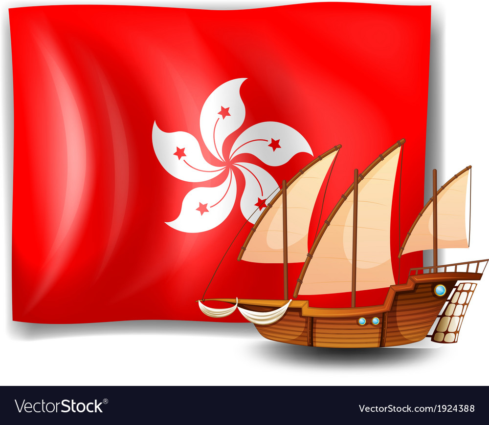 Flag of hongkong with a ship vector