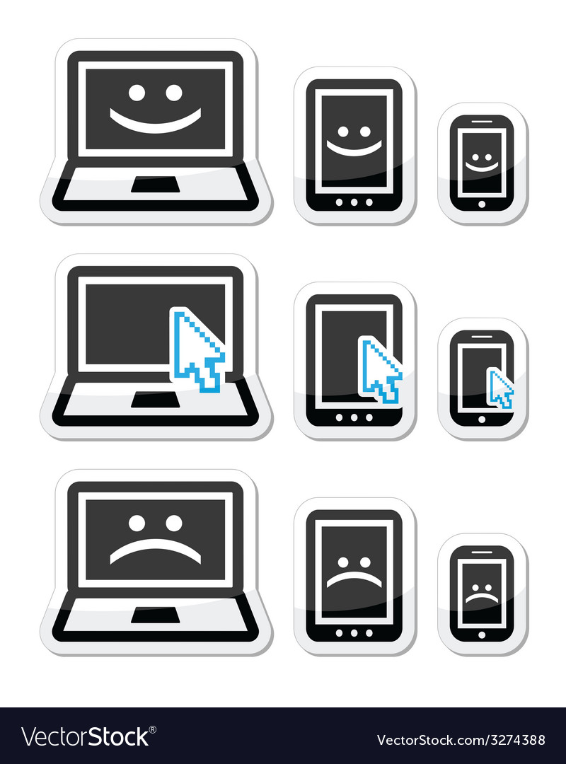 Laptop tablet and phone with cursor arrow happy vector