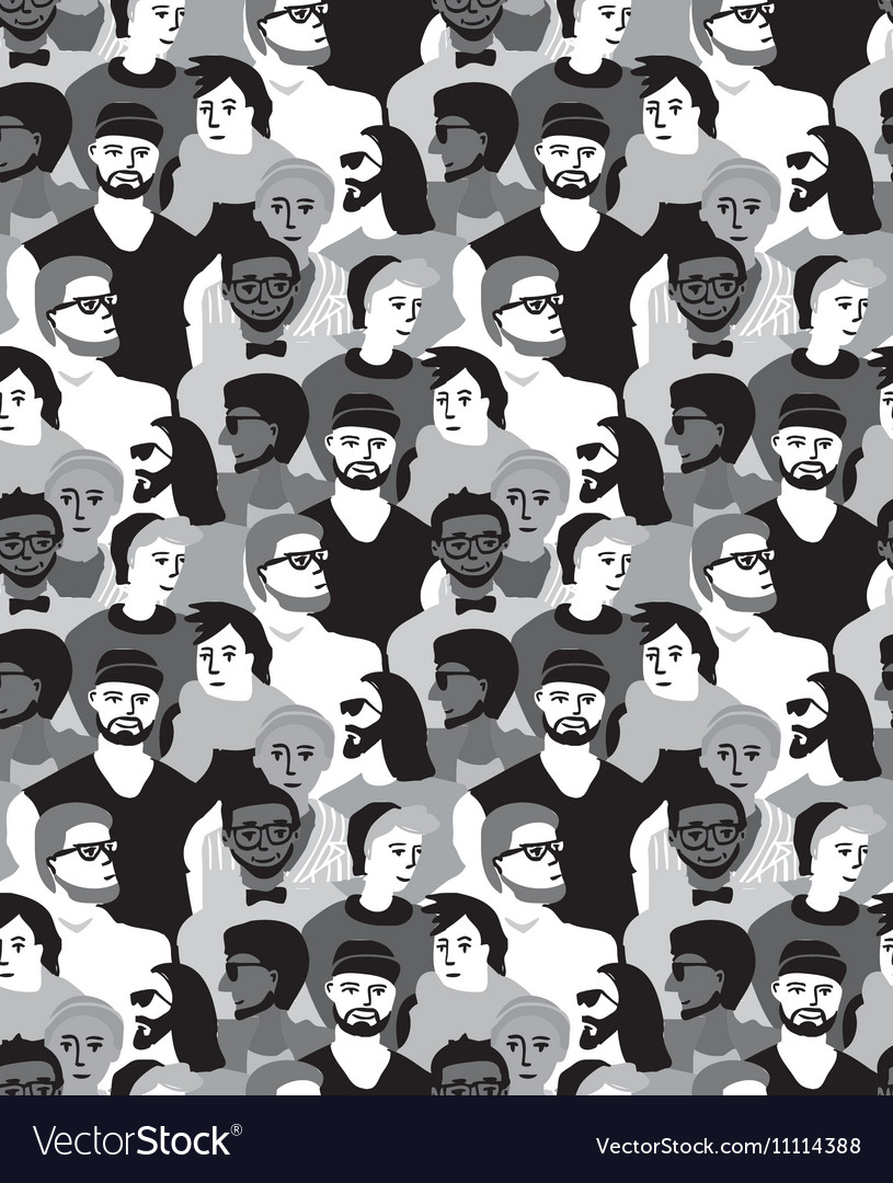 Man only crowd group gray scale seamless pattern vector