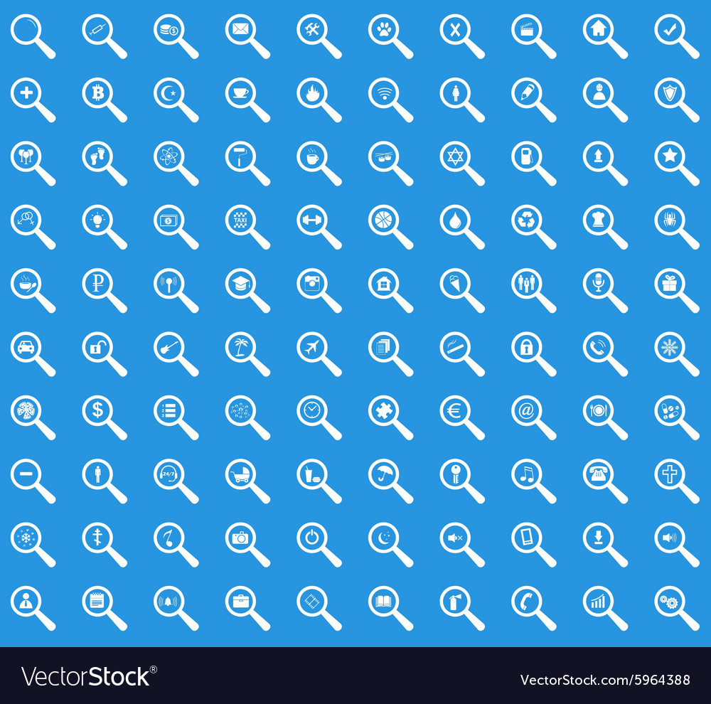 Search icon set blue vector