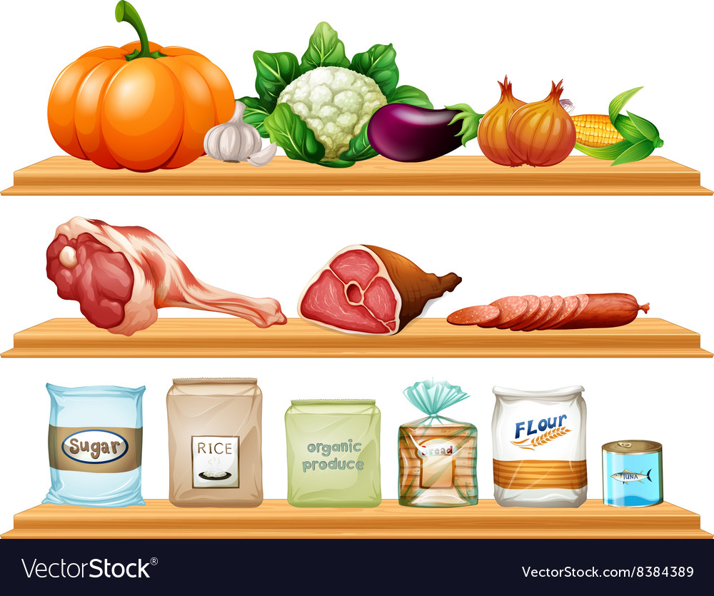 Food and ingredients on the shelf vector