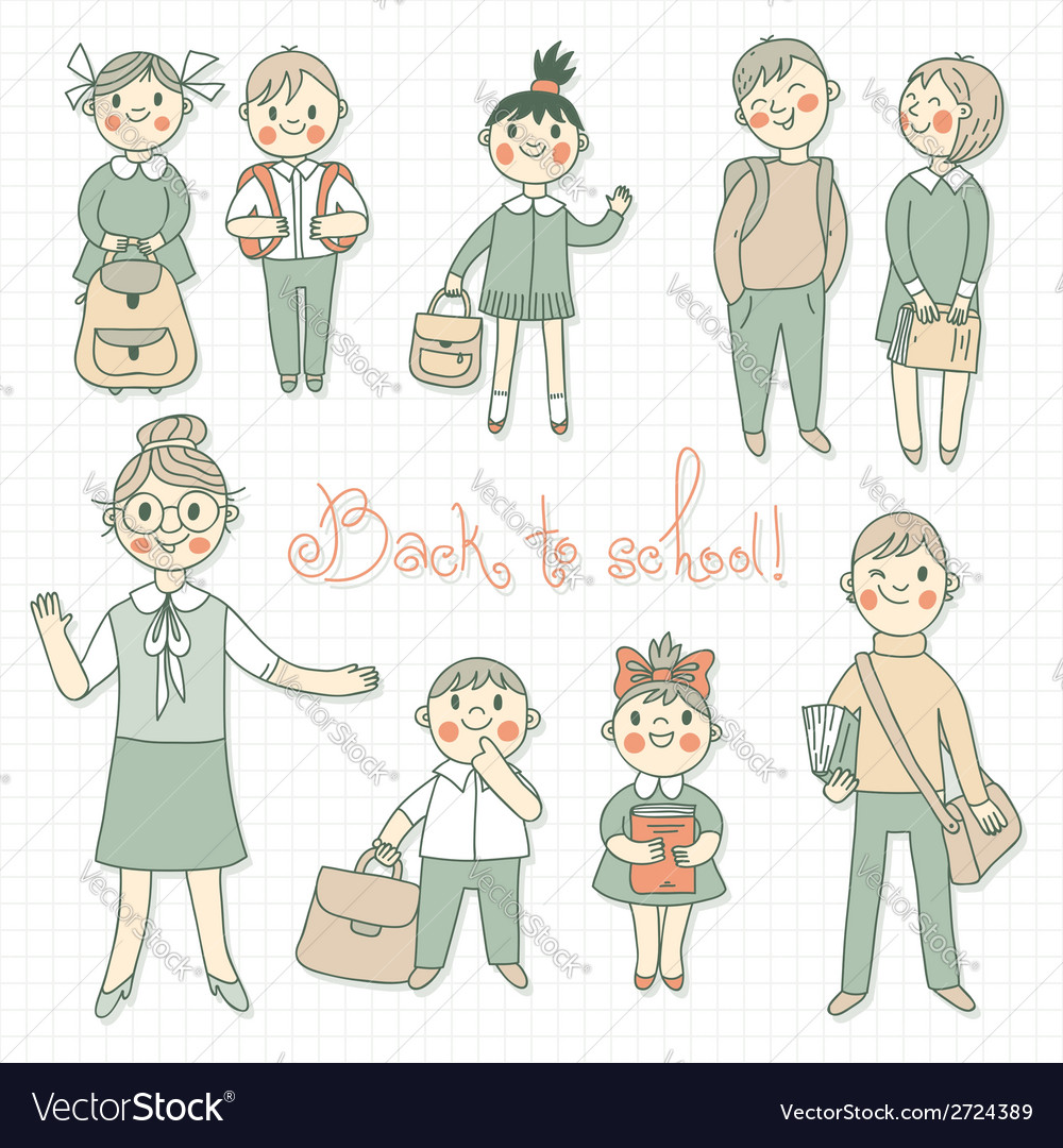 Teacher with the students back to school vector
